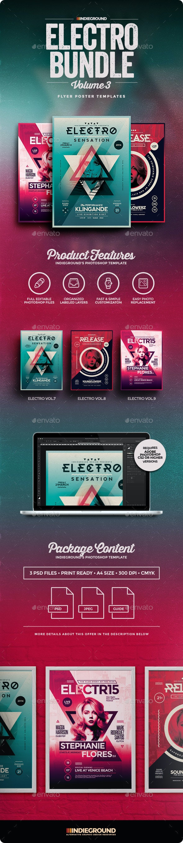 Electro Flyer/Poster Bundle Vol. 7-9 - Events Flyers