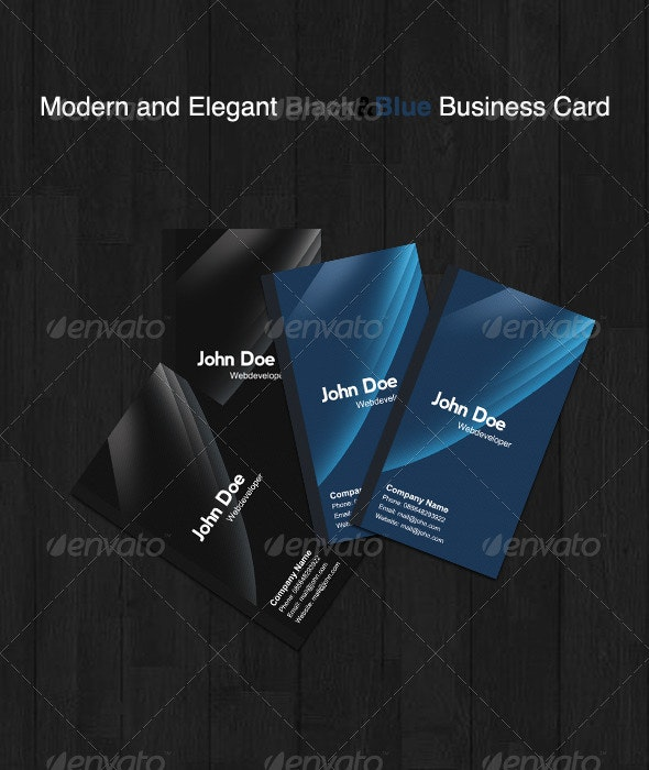 Black & Blue Business Card - Corporate Business Cards