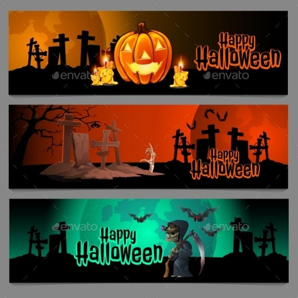 Three Horizontal Halloween Graveyard Cards