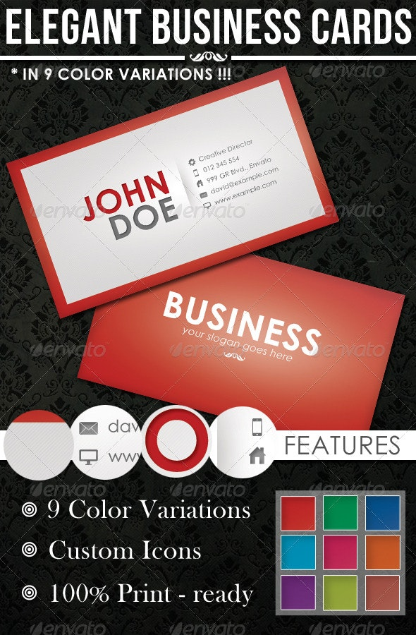 9 Colors Elegant Corporate Business Cards - Corporate Business Cards