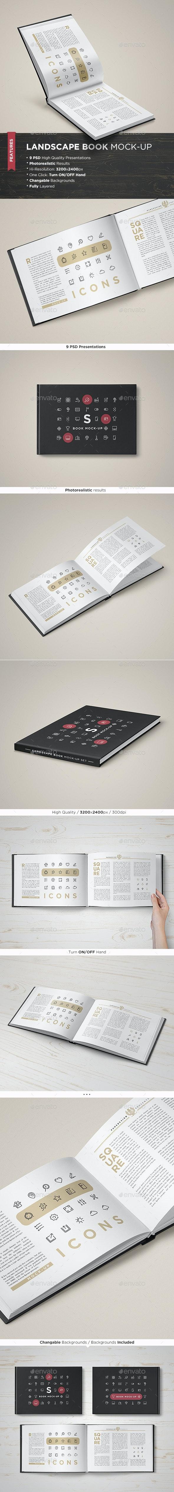 Landscape Book Mock-Up Set - Books Print