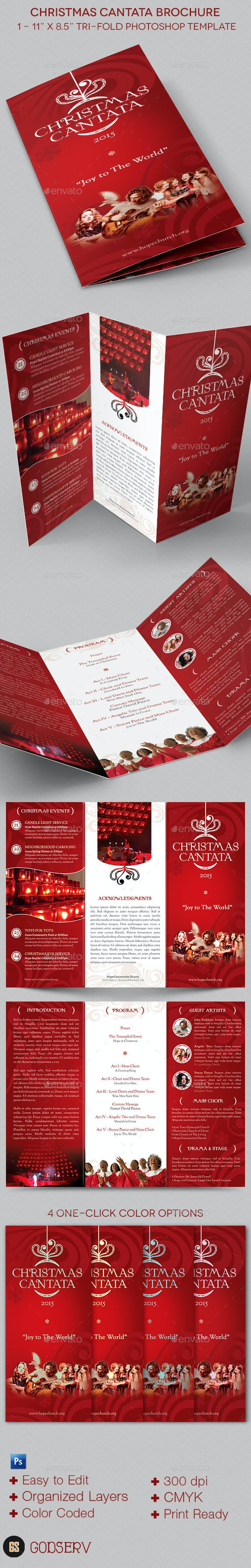 Christmas Cantata Brochure Template - Informational Brochures