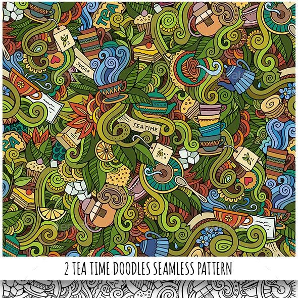 2 Tea Doodles Seamless Pattern