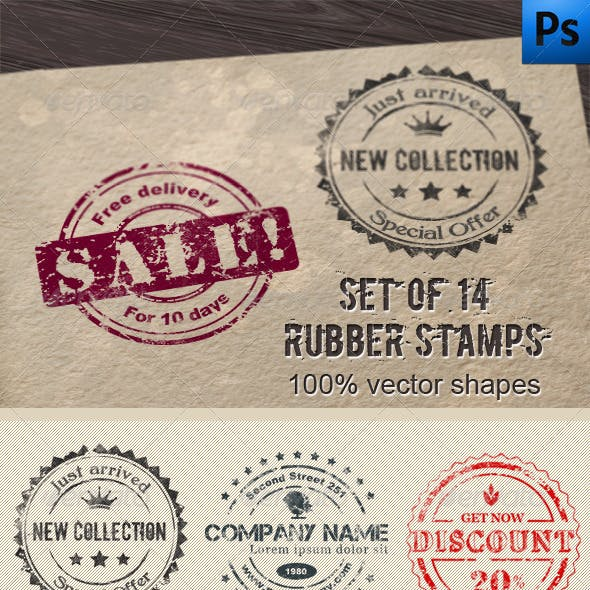 14 Editable Rubber Stamps