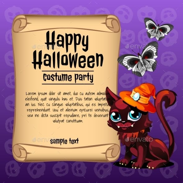 Cat and Butterfly with Banner Happy Halloween