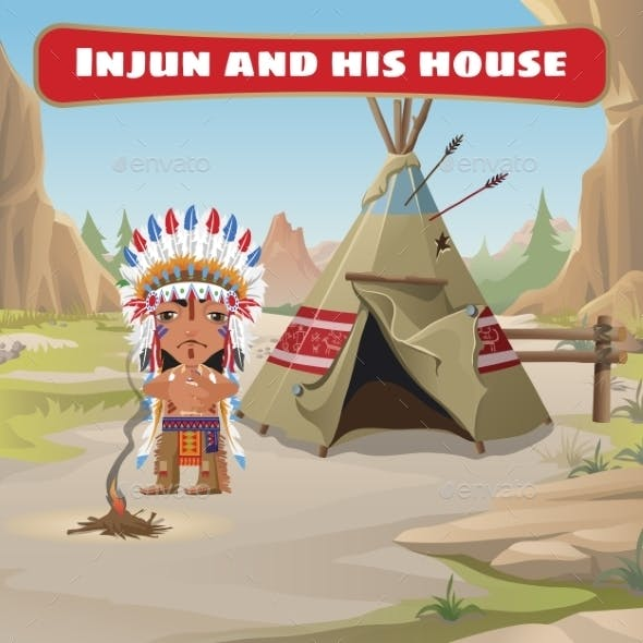 The Leader of the Indians with a Tepee