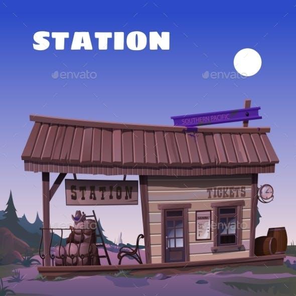Old Tavern Wild West Background