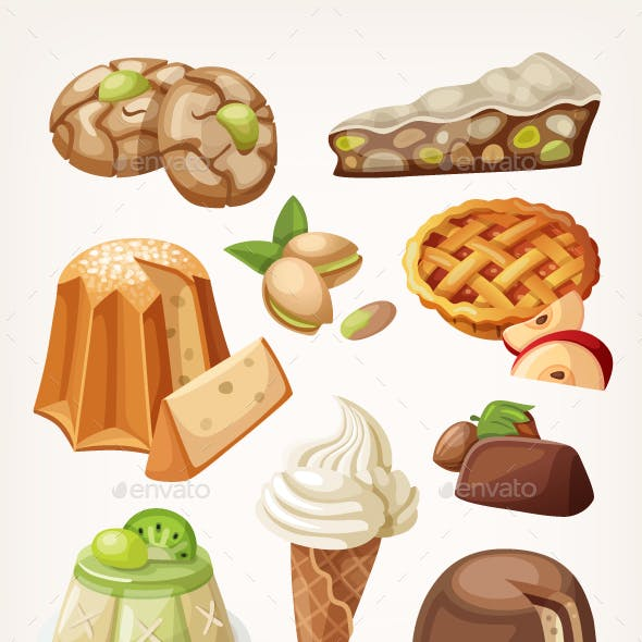 Set of Traditional Italian Desserts