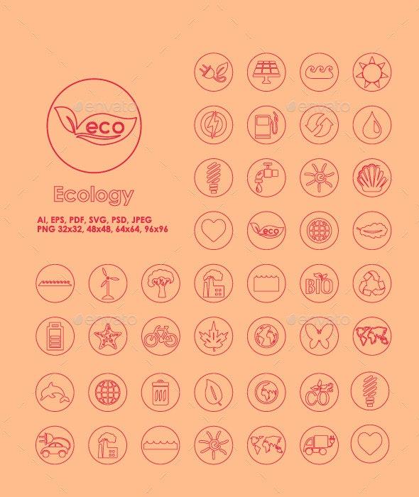42 Ecology simple icons - Icons