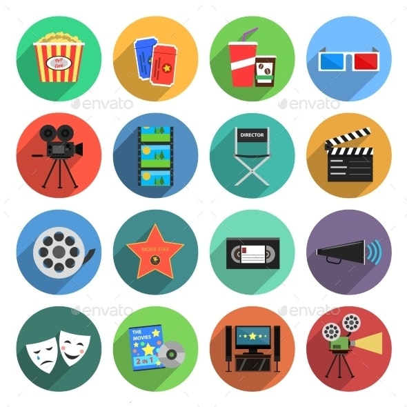 Movie Icons Flat Set - Objects Icons