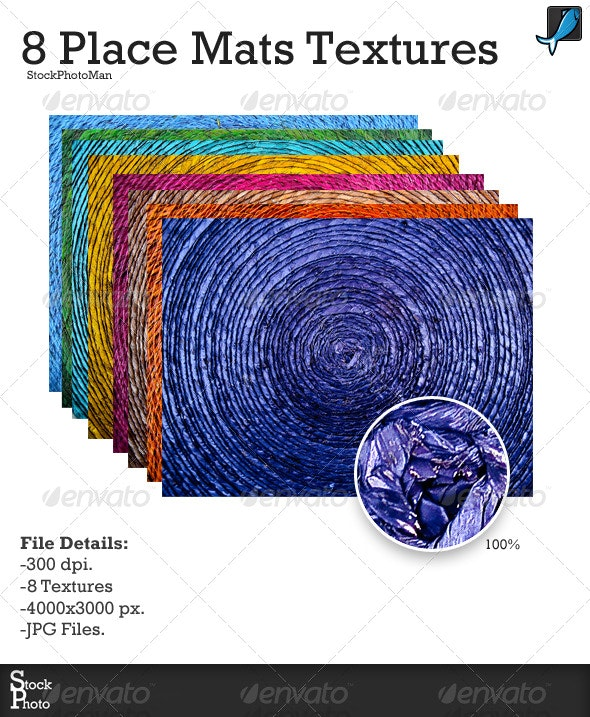 8 Colorful Place Mat Textures - Nature Textures