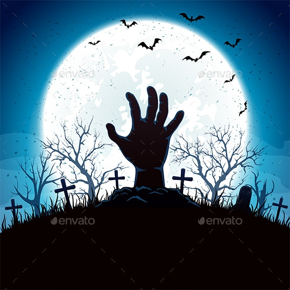 Blue Halloween Background with Hand and Moon - Halloween Seasons/Holidays