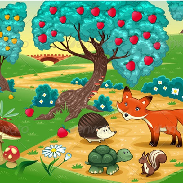 Animals in the wood. Funny cartoon and vector illu