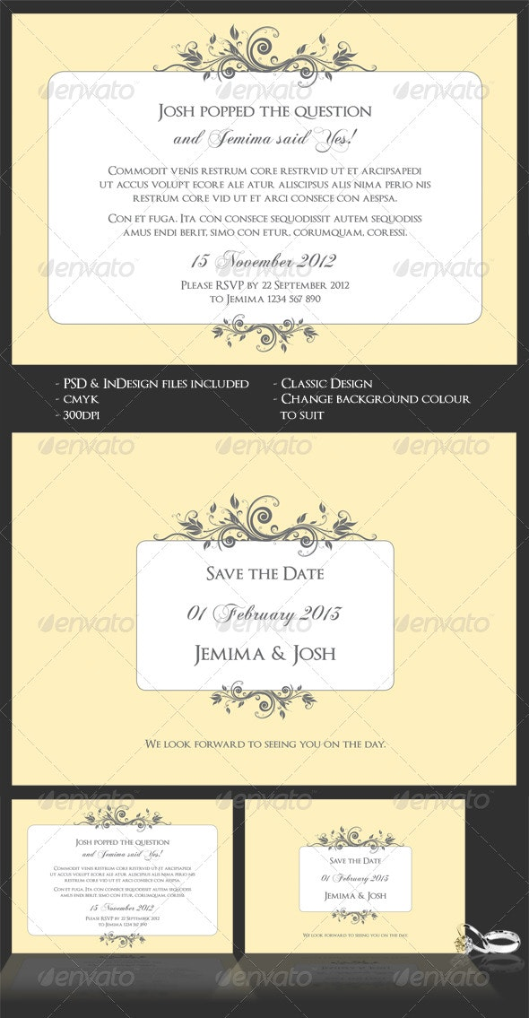 Classic Wedding/Engagement Invite & Save The Date - Weddings Cards & Invites