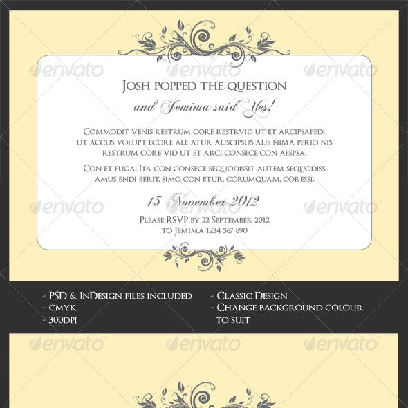 Classic Wedding/Engagement Invite & Save The Date