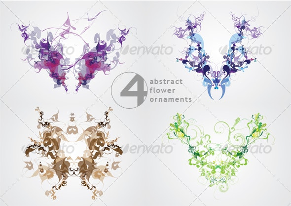 Abstract Flower Ornaments - Decorative Vectors