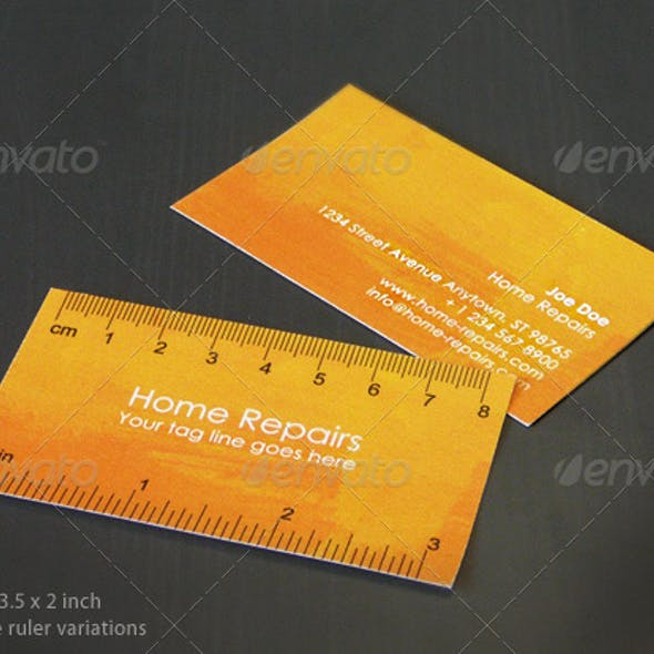 Handy Business Card with Ruler (Yellow-Orange)