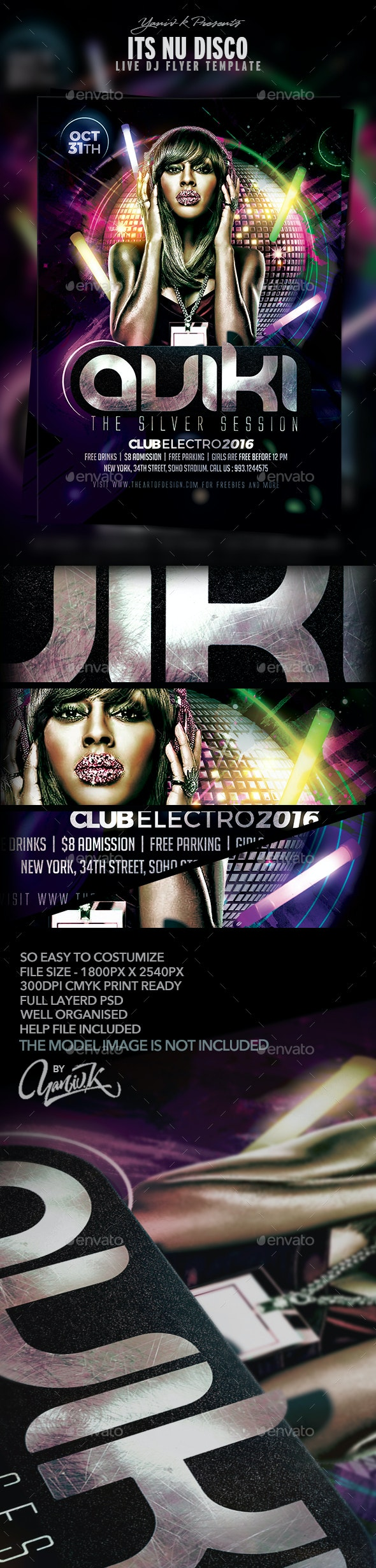 Nu Disco Flyer Template - Clubs & Parties Events