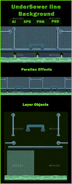 UnderSewer line Background - Backgrounds Game Assets