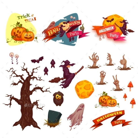 Halloween Party Vector Set Elements - Halloween Seasons/Holidays