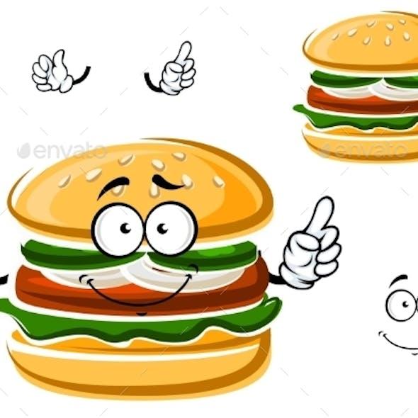 Cartoon Funny Hamburger With Vegetables
