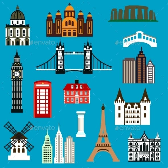 World Travel Landmark Flat Icons