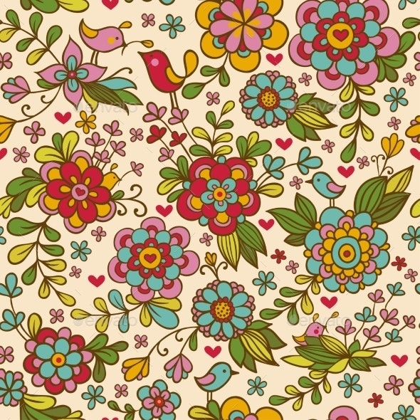 Seamless Texture With Flowers And Birds. - Flowers & Plants Nature
