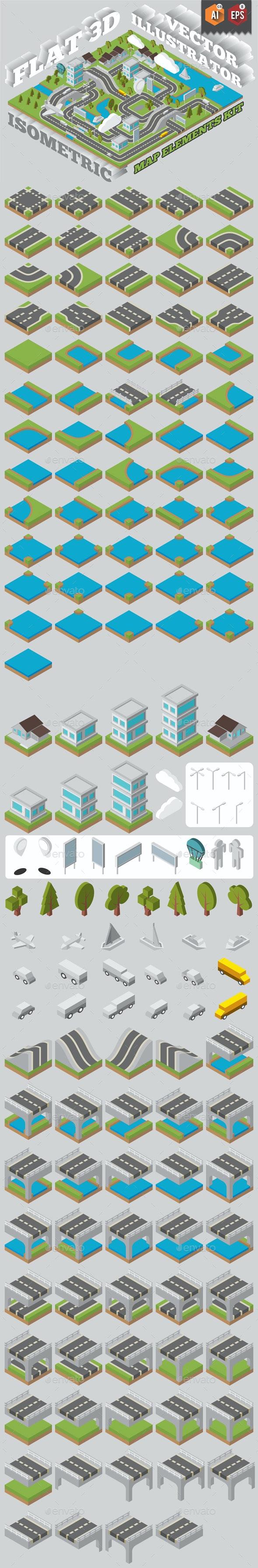 Flat 3D Isomatric Map Builder Elements Kit - Buildings Objects