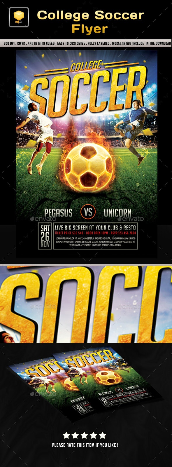 College Soccer Flyer - Sports Events