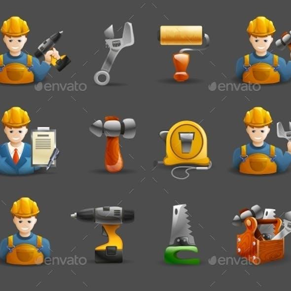 Construction Remodeling Work Isometric Icons Set