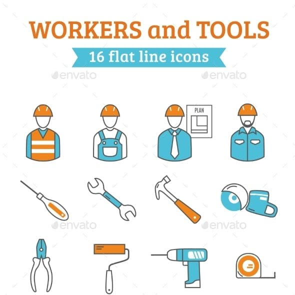 Construction Workers Tools Line Icons Set