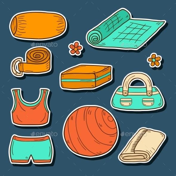 Set Of Yoga Equipment Icons - Sports/Activity Conceptual