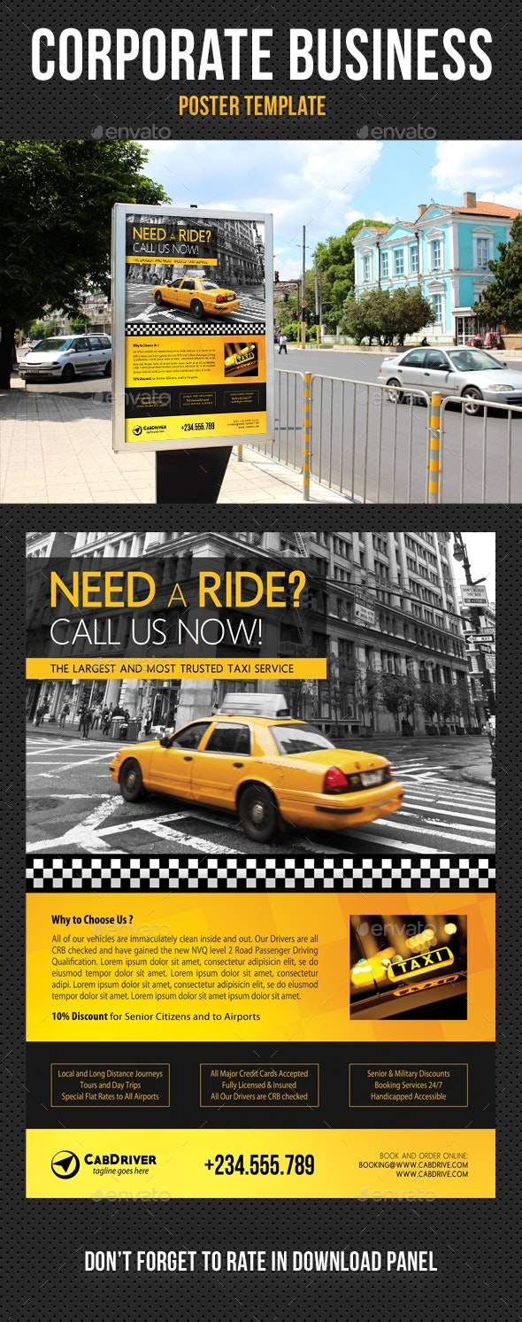 Taxi Cab Drive Poster Template - Signage Print Templates