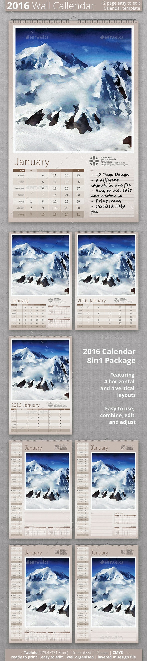 2016 Wall Calendar - Calendars Stationery