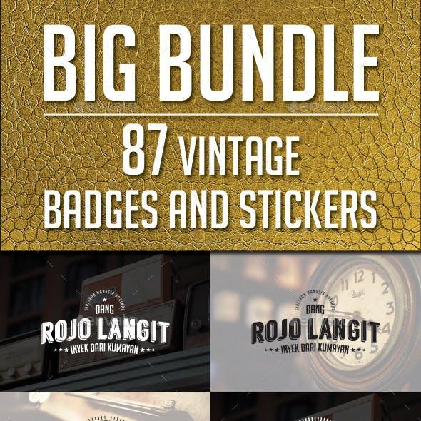 87 Vintage Labels & Badges Logos Bundle - Vol 1