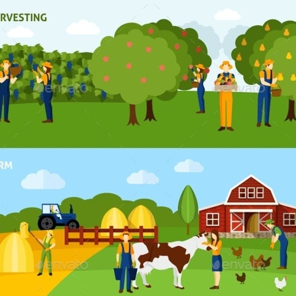Farming 2 Flat Horizontal Banners Composition