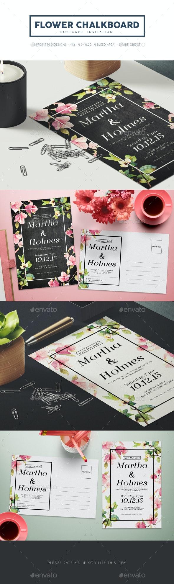 Flower Chalkboard Invitation - Weddings Cards & Invites