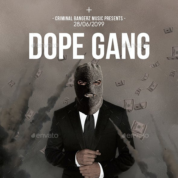 Dope Gang 2   Futuristic Movie Flyer PSD Template