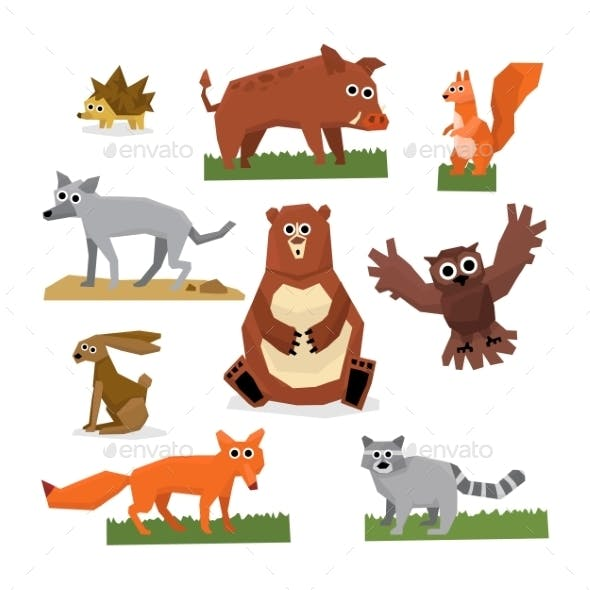 Wild Forest Animals Flat Style Set