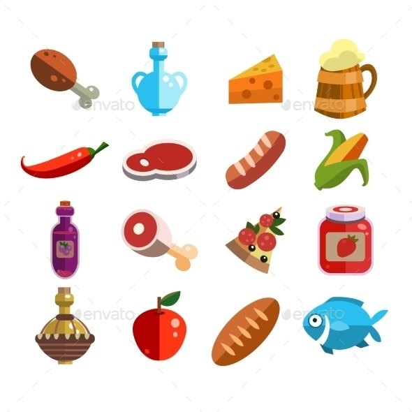 Set of Food Icons in Flat Design - Food Objects