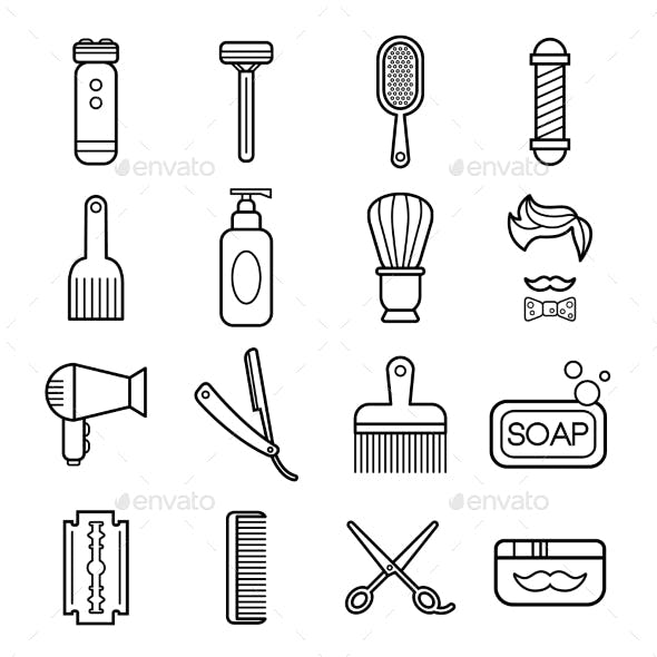 Beauty And Care Barber Shop Linear Icons