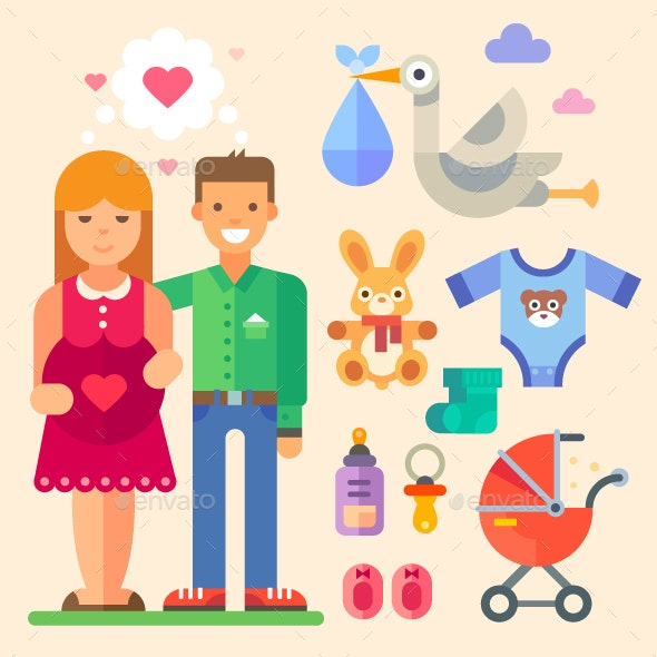 Happy Family Waiting for a Baby - People Characters