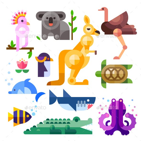 Flat Australian Animals