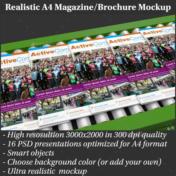 Realistic A4 Magazine Mockup