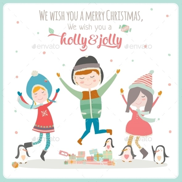 Christmas Illustration with Typographic Background - Christmas Seasons/Holidays
