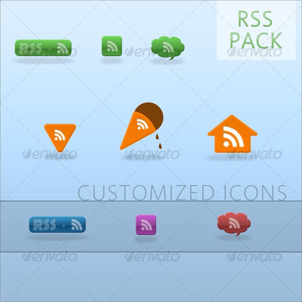 Glossy web 2.0 RSS button pack