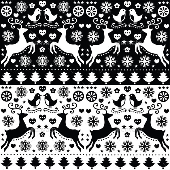 Christmas Seamless Monochrome Pattern