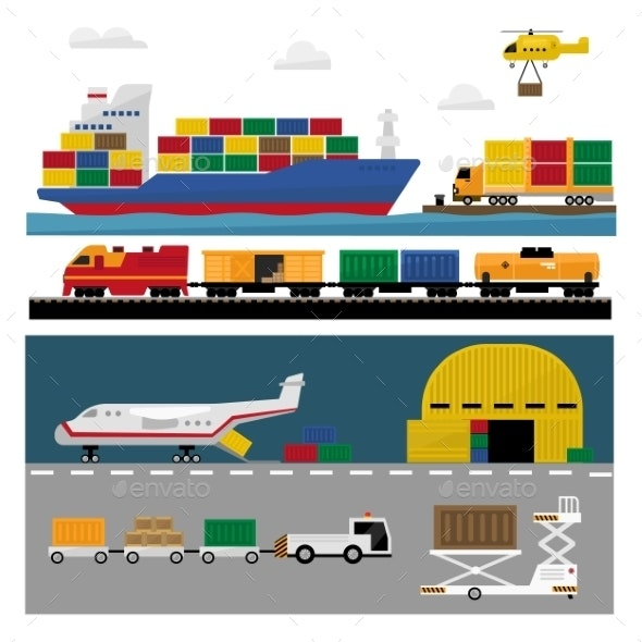 Transportation and Shipping Icons Flat Set