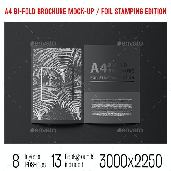 A4 Bi-Fold Brochure Mock-Up Foil Stamping Edition