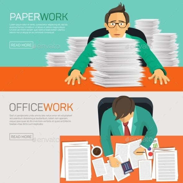 Busy Businessman Working with Paperwork